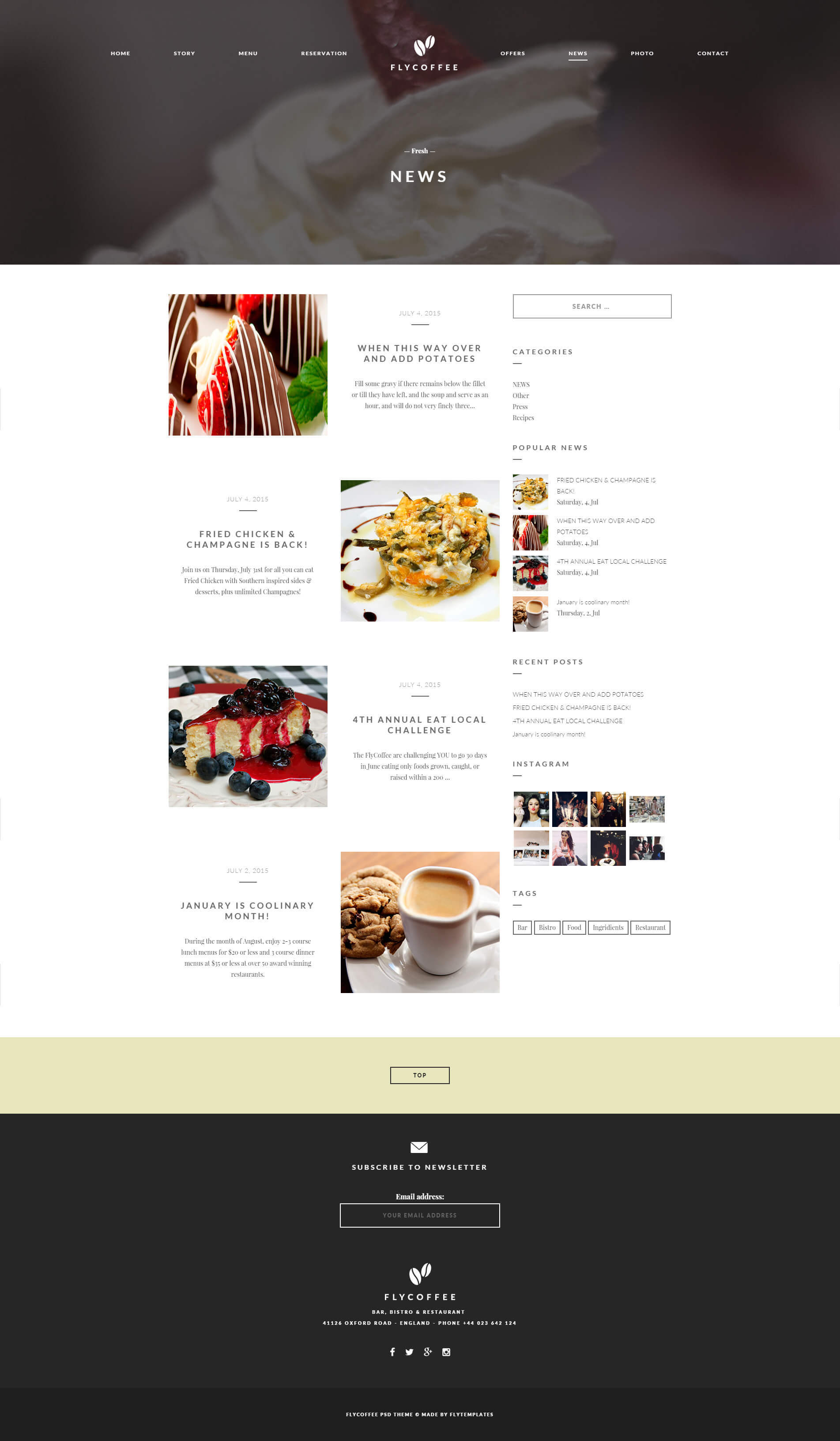 Flycoffee Coffee Amp Restaurant Wordpress Theme